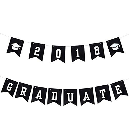 OULII Graduation Party Banner Photo Props Decorations 2018 GRADUATE Graduation Cap Pennant Flags Garland