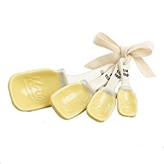 Yellow Ceramic Mason Jar Measuring Spoons Set