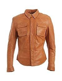 Slim Fit Mens Tan Retro Jeans Trucker Shirt Jacket Real Leather Vintage Biker