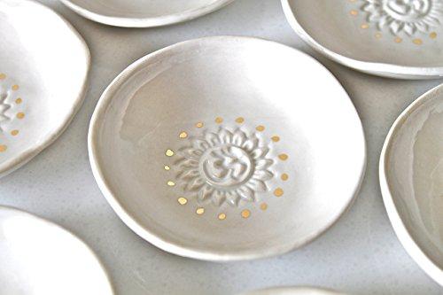 (OMRDG-S Om Ring dish - OM Ring Holder - OM Candle Holder - White Ring Holder Om sign with 22k genuine gold luster)