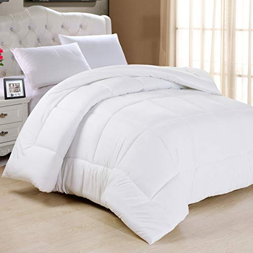 Luxury Homes Goose Down All Season Comforter - Hypoallergenic 600 Thread Count 100% Pure Cotton Cover - Two Free Plllow Cases Included ()