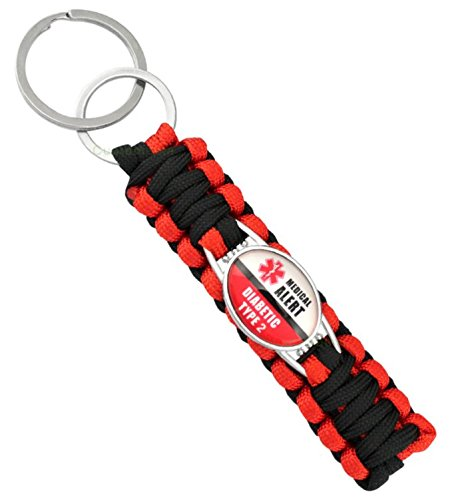 Medical Alert, Diabetic Awareness Paracord Key Chain (Type 2 Diabetic) - Awareness Key Chain
