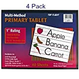 (Pack of 4) Top Flight Primary Tablet 1 Inch Ruling