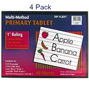 (Pack of 4) Top Flight Primary Tablet 1 Inch Ruling Multi-Method Grade 1 & Kindergarten (Tablet School Writing)