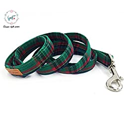 PEHTEN Dark Green Plaid Dog Collar with Bow Tie Metal Buckle Dog &Cat Necklace Dog Leash for Bis and Small Dog and Cat Pet Accessories Leash M