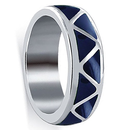 (Sterling Silver 6mm Wide Simulated Lapis Lazuli Band Size 7 Southwestern Style)