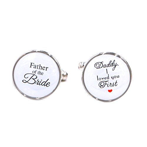 LParkin Wedding Gift Cuff Links -Father of the Bride ; Daddy I love you first (White) by LParkin (Image #4)