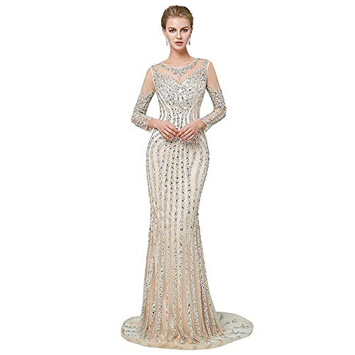 Aries Tuttle Luxury Champagne Beaded Tulle Prom Evening Wedding Party Dress Celebrity Pageant Gown US 2-16 (US 8, Champagne)