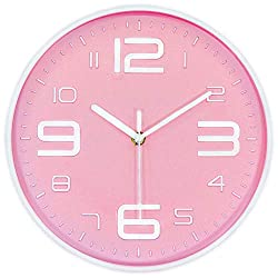 45Min 10-Inch 3D Number Dial Face Modern Wall Clock, Silent Non-Ticking Round Home Decor Wall Clock with Arabic Numerals, 7 Color Dial Face (Pink)