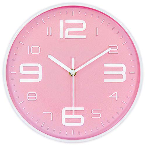 45Min 10-inch 3D Digital Dial Face Modern Wall Clock, Silent Non-Ticking Round Home Decor Wall Clock Arabic Numerals, 7 Color Dial Face (Pink)