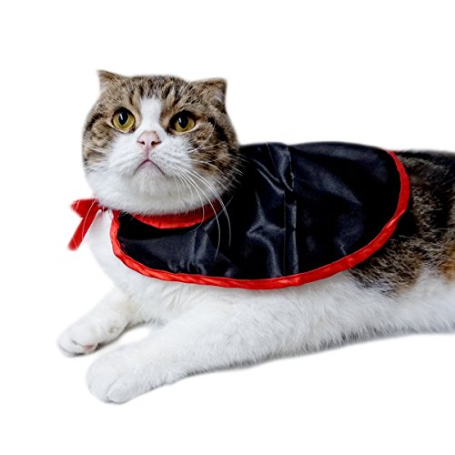 Neychen Pet Dog Cat Cloak,Halloween Christmas Party Cosplay Costumes in Vampire Cape Design,Black Red