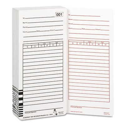 Time Card for Es1000 Electronic Totalizing Payroll Recorder, 100/Pack, Sold as 2 Package (Totalizing Payroll Time Recorder)