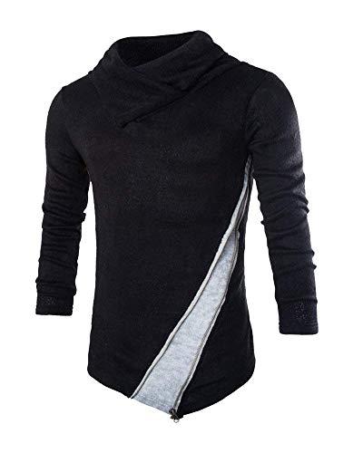 Noir Automne Sweat Pull Col Slim Tricot Cut Elegant Zipper Hommes Haut Mode qOwzXOP