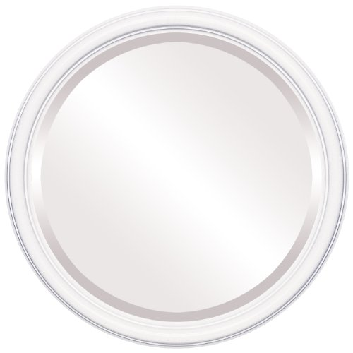 Round Beveled Wall Mirror for Home Decor - Saratoga Style - Linen White - 20x20 outside dimensions
