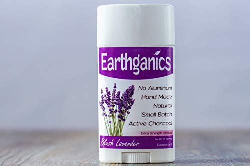 Earthganics Blush Lavender - Extra Strength with Active Charcoal and Magnesium 100% All Natural Deodorant - 2.5oz