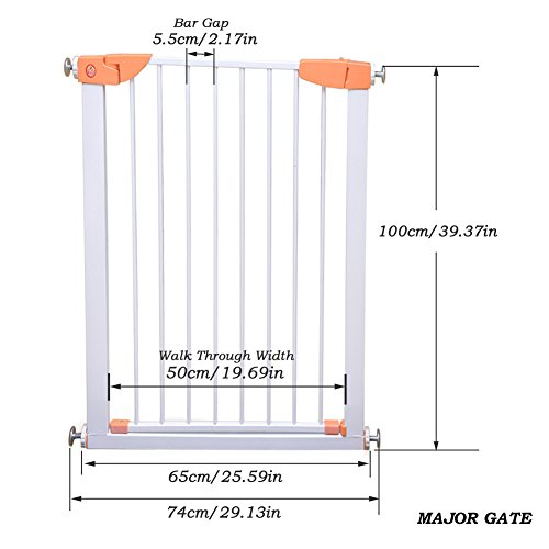 Fairy Baby Easy Install Extra Tall & Wide Walk Thru Gate,39.4'' High,Fit Spaces between 64.96'' to 68.50'' Wide by Fairy Baby (Image #3)