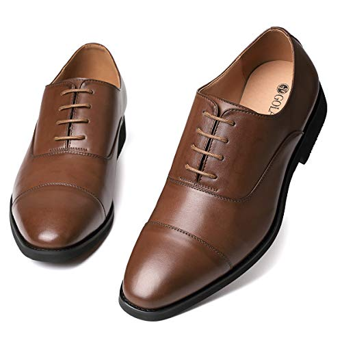 (GM GOLAIMAN Men's Dress Shoes - Formal Lace Up Oxfords Cap Toe Balmoral Shoes Brown 10.5 )
