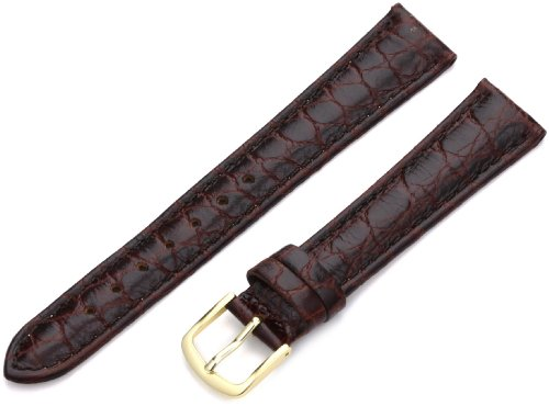 Brown Crocodile Leather Watch - Hadley-Roma Men's MSM717RB 170 17-mm Brown Crocodile Grained Leather Watch Strap