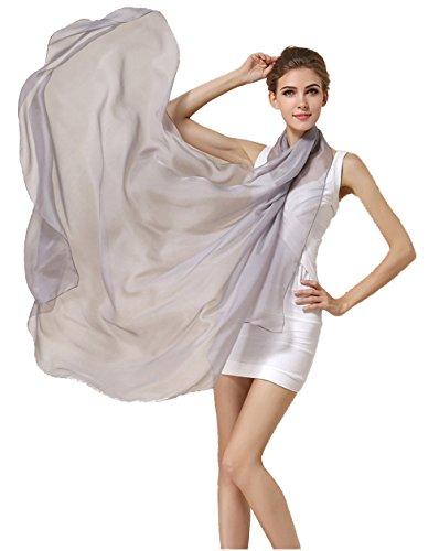 Grace Scarves 100% Silk Scarf, Oblong, Chiffon, Solid Color, Silver Chiffon 100% Silk Sheer