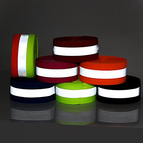 DalaB Fluorescent Green Safety Silver Reflective Elastic Tape Band Cord Belt Fabric Wide 40mmx15mm - (Size: 50meter) by DalaB (Image #5)
