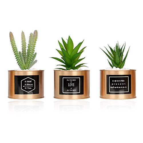 VGIA Mini Artificial Succulent Plants Plastic Fake Green Cactus Potted in Special Golden Can Pot Design for Mordern Desktop Home Office Décor - Set of 3