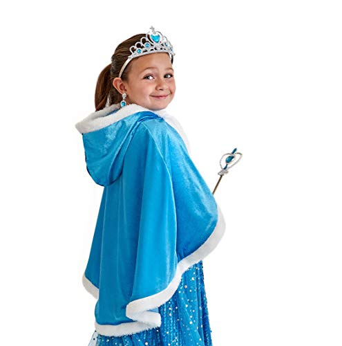 Princess Elsa Cape - Frozen Cape with Hood and Kids Warm Winter Coat - Fit for 5 to 6 Years Old Girls
