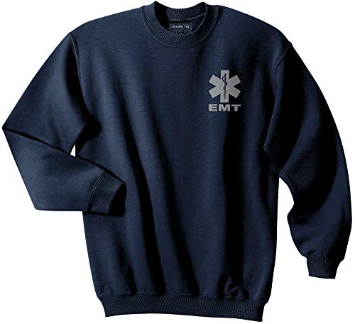 Smart People Clothing EMT Navy Sweatshirt with Reflective Logo, Emergency Medical, First Responder (XX-Large)