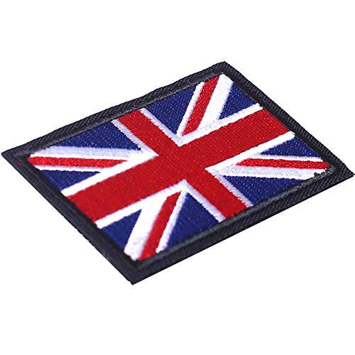 AXEN British Union Jack Velcro Patch United Kingdom Flag Patch British Union Patches Tactical Patches Hook and Loop Applique for Military Uniform Tactical Bag Jacket Jeans Hat, 2pcs
