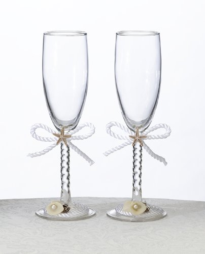Lillian Rose Coastal Mist Toasting Glasses, (Lillian Rose Coastal Mist)