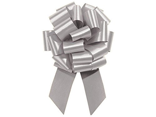 Silver Pull String Bows - 8 Inch Wide 20 Loops Large (2 and 1/2 Inch Ribbon) Set of 10 by Premium Quality Gift Wrap Paper
