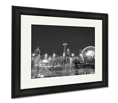 Ashley Framed Prints Centennial Olympic Park In Atlanta During Blue Hour After Sunset, Office/Home/Kitchen Decor, Black/White, 30x35 (frame size), Black Frame, - Hours Downtown Plaza