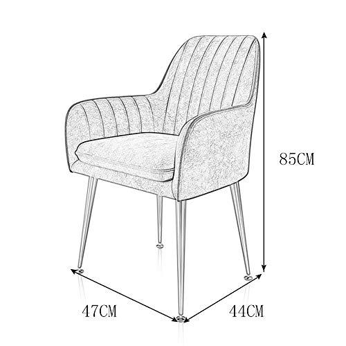 PLHMS Matstolar, mjuka fåtöljer säte och ryggstöd sammet vardagsrumsstolar, stoppad accentstol, med metallben, för vardagsrum sovrum kök, F