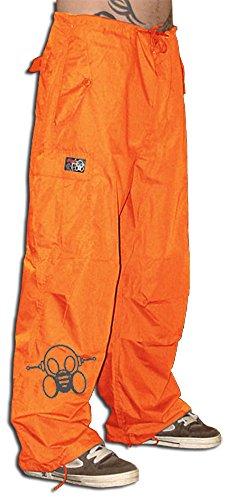 Ghast Unisex Cargo Drawstring Rave Dance Pants, Basic Orange 3X-Small