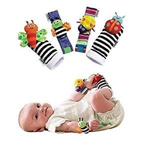 Blige SMTF Cute Animal Soft Baby Socks Toys Wrist Rattles and Foot Finders for Fun Butterflies and Lady bugs Set 4 pcs (Toys Rattles Set)