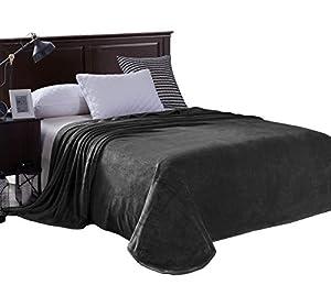 Exclusivo Mezcla Flannel Velvet Plush Bed Blanket - Soft, Lightweight, Warm and Cozy