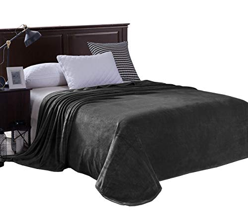 Exclusivo Mezcla Luxury King Size Flannel Velvet Plush Solid Bed Blanket as Bedspread/Coverlet/Bed Cover (90 x 104, Grey) - Soft, Lightweight, Warm and Cozy