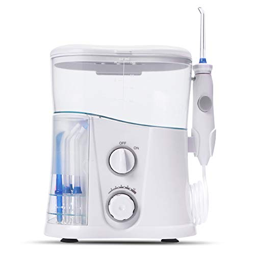 ILYO Oral irrigator, 1000ml irrigator with 10 Multi-Function nozzles 90 sec Timer for Care and Cleaning of Teeth and Gums for Adults and Children for Family ()