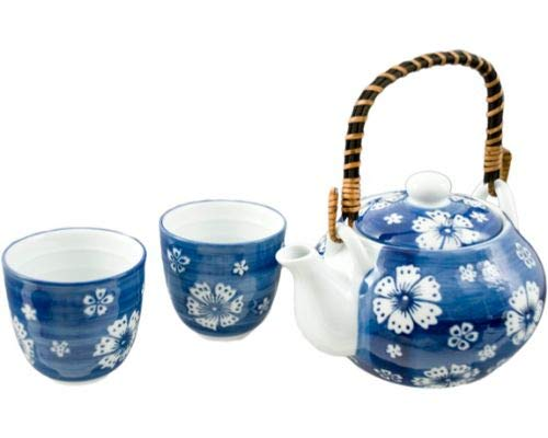 (Hinomaru Collection Japanese Style Blue and White Porcelain Cherry Blossom Sakura Tea Set Ceramic Teapot with Rattan Handle and 2 Tea Cups Gift Packaging)