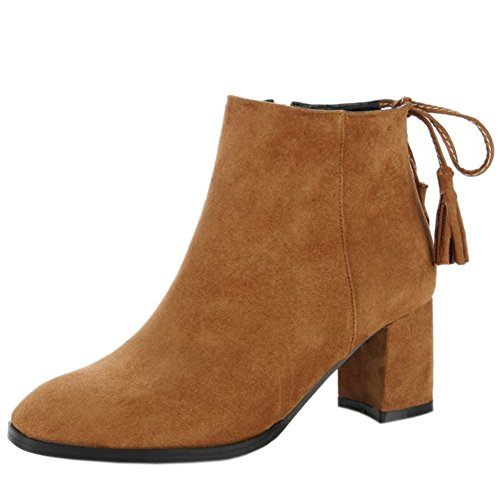 Block Women Dress Heel Fashion Ankle 25 Boots Brown Party COOLCEPT HqpCwRZw