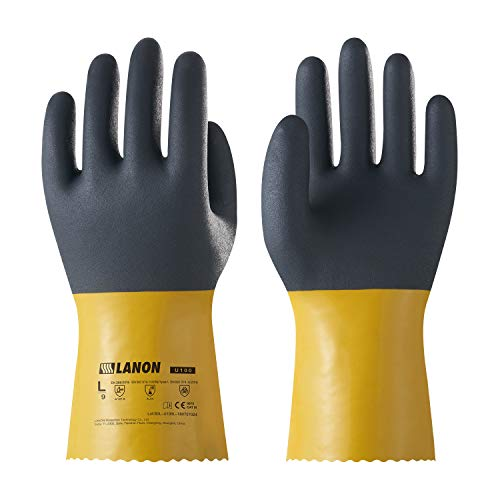 LANON Protection U100 Reusable PVC Work Gloves, Oil Resistant Heavy Duty Industrial Gloves, Chemical Resistant, Non-slip, Anti-aging, Large, CE Certified, CAT - Duty Gloves Heavy Protection