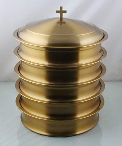 (Communion Ware:- Stainless Steel Brass Finish Communion Trays Set Of 5 with 1 Lid)