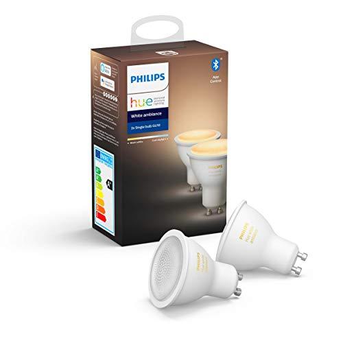 Philips Hue Spot 2-Pack – GU10 – Duurzame LED Verlichting – Warm tot Koelwit Licht – Dimbaar – Verbind met Bluetooth of…