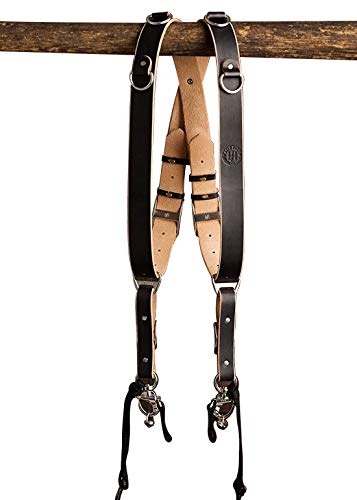 HoldFast Gear Money Maker Bridle Leather 2-Camera Harness (Black, Hardware, Large) by HoldFast