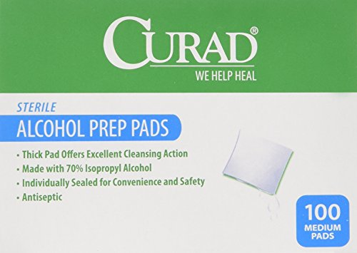 Curad Alcohol Swabs Antiseptic Prep Wipes 400 Count Sterile Medium Pads Individually Sealed - Ideal for Pre-injection Skin Prepping. - Contains 70% Isopropyl Alcohol. 4 x 100 Count Total: 400 - Prep Iv Pads