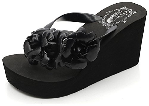 flops Black Flowers High Hanxue Flip heeled Womens Slipper OwpY7U
