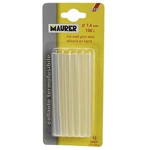 Maurer 14050187 - Pack de 12 unidades, silicona en barra (7,4 mm)