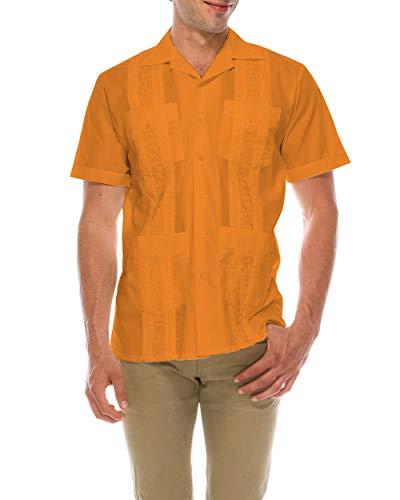 TrueM Men's Short Sleeve Cuban Guayabera Shirts (L,