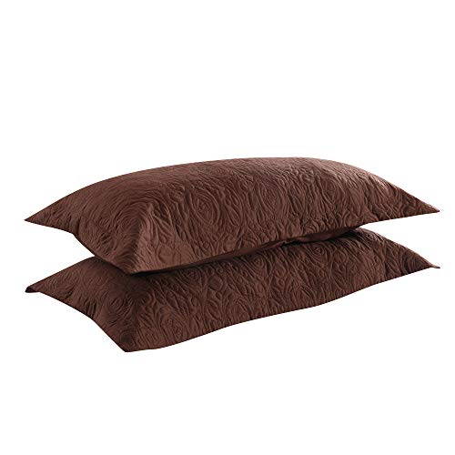 MarCielo 2-Piece Embroidered Pillow Shams, Decorative Microfiber Pillow Shams Set Standard Size Brown