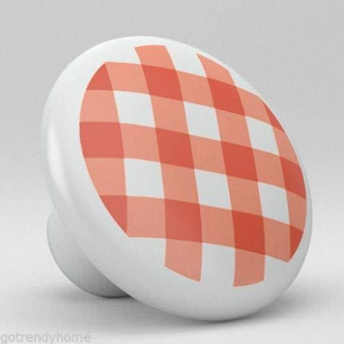 Pulls Drawer Gingham - Red Gingham Pattern Ceramic Knobs Kitchen Drawer Cabinet Vanity Closet Pulls 648