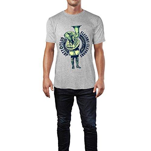 SINUS ART® Jazz Club Eleganter Elephant Herren T-Shirts in hellgrau Fun Shirt mit tollen Aufdruck